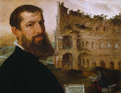 Self portrait, with the Colosseum behind, 1553