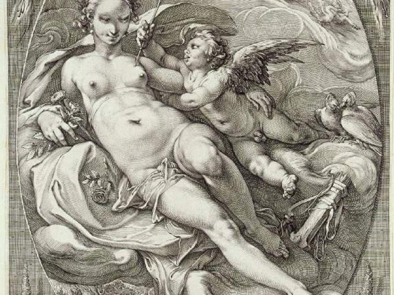 Venus attended by Eros