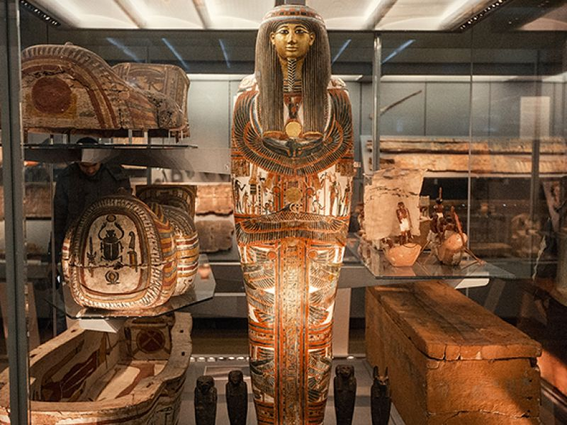 A view of Gallery 19's Egyptian coffin installation
