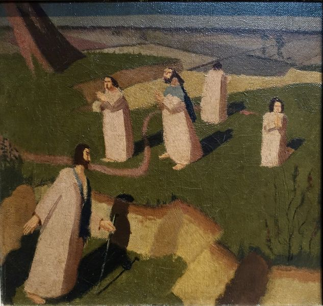 John Donne arriving in Heaven, 1911, Oil on canvas, © The Estate of Stanley Spencer 2013. All rights reserved DACS. Photograph © The Fitzwilliam Museum, Cambridge.