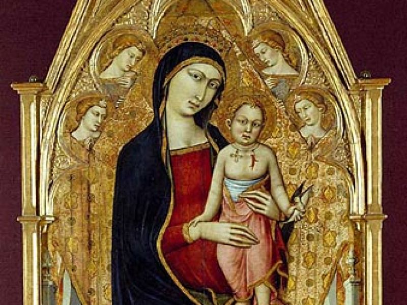 Madonna and Child enthroned, with four angels