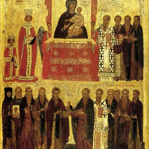 'Triumph of Orthodoxy' over iconoclasm under the Byzantine Empress Theodora and her son Michael III. Late 14th – early 15th-century icon. - Public domain image