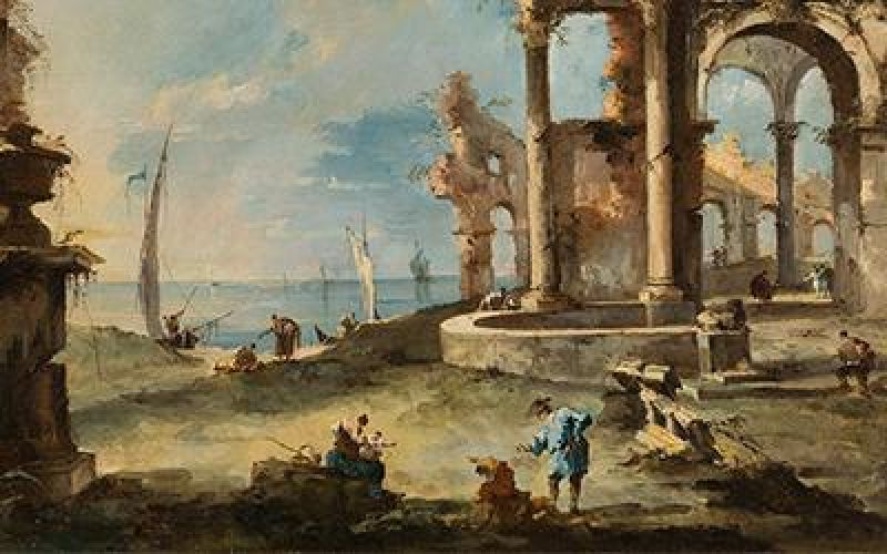 A capriccio ruined building by the coast, with figures, Francesco Guardi (1712-1793)