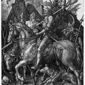 A knight on horseback from an engraving by Albrecht Dürer