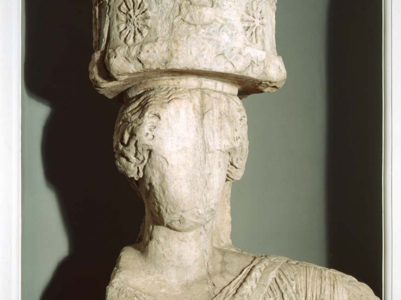 The top section of an Eleusis caryatid from the Greek and Roman gallery