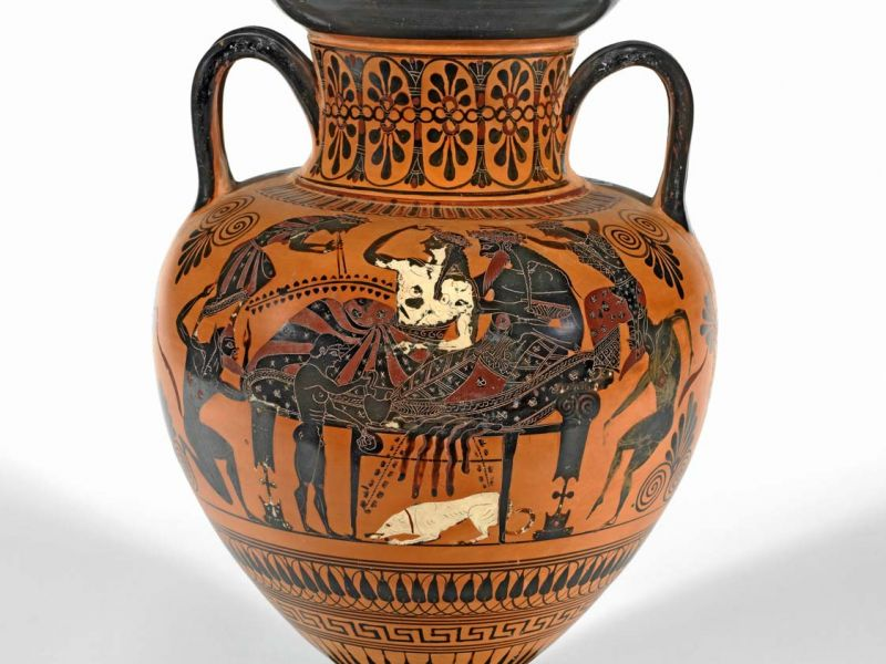 Athenian Neck-Amphora with Dionysus and Ariadne
