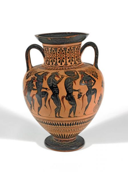 Featured image for the project: An amphora depicting Dionysus and Ariadne at a Symposium