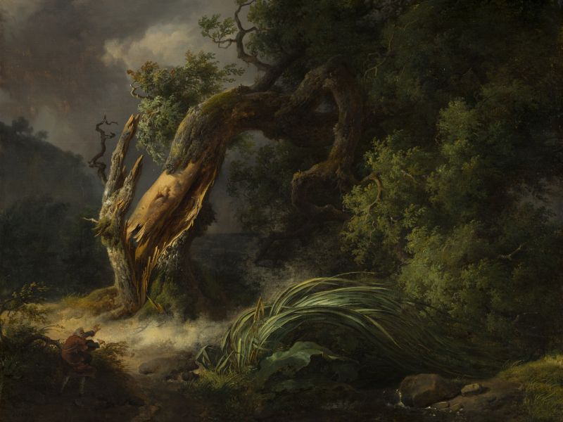The Oak and the Reed painted by Michallon, telling the famous fable of how to fair a storm