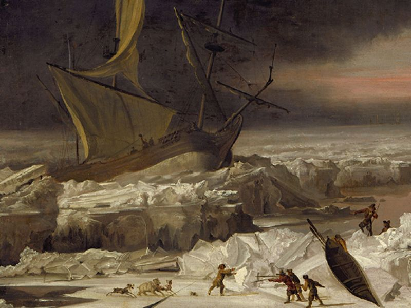 An ice locked ship