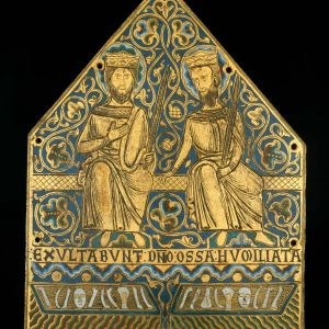 Headline: Limoges enamel, two crowned martyrs from a reliquary