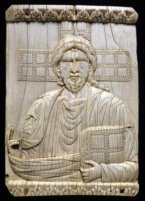 An ivory plaque depicting Christ Pantokrator