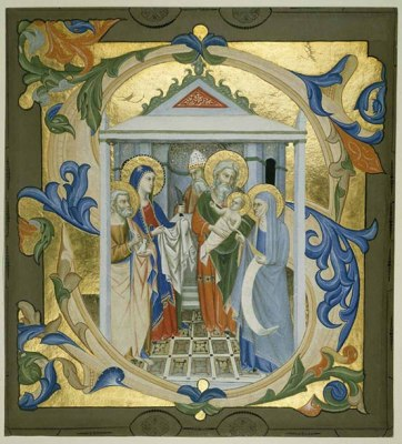 Historiated initial S, with The Presentation in the Temple