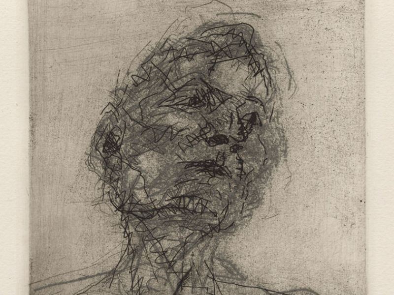 Etching of Lucian Freud by Frank Auerbach (1981)