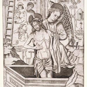 Florentine print, c 1500 depicting Christ on the Cross