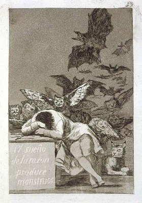 'The sleep of reason produces monsters', plate from *Los Caprichos*
