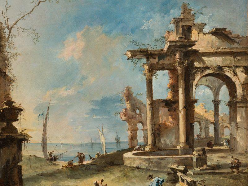 A capriccio ruined building by the coast, with figures, Francesco Guardi (1712-1793) © The Fitzwilliam Museum, Cambridge,