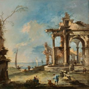 A capriccio ruined building by the coast, with figures, Francesco Guardi (1712-1793) © The Fitzwilliam Museum, Cambridge,