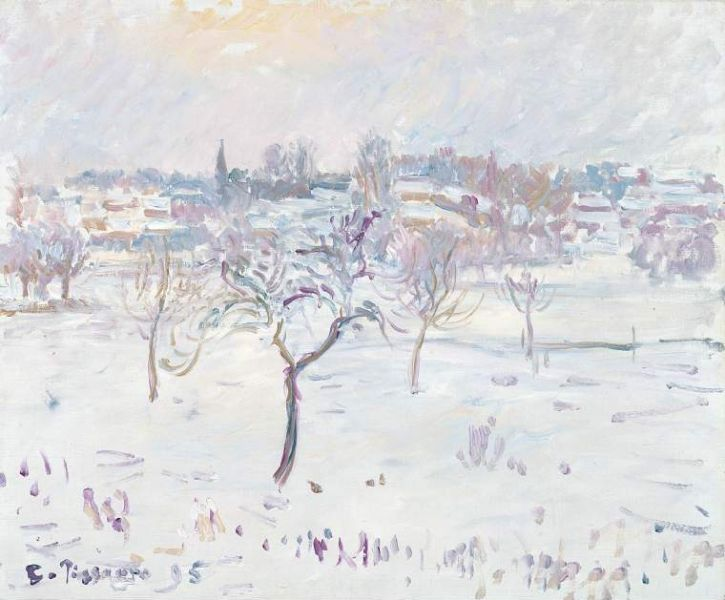 Snowy landscape at Eragny with an apple tree