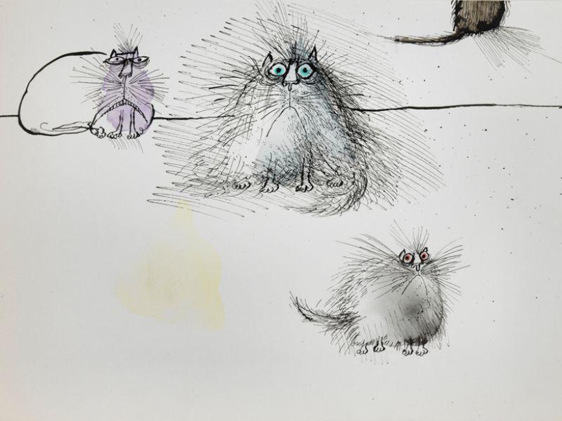 Ronald Searle (1920-2011), Four cats © The estate of Ronald Searle