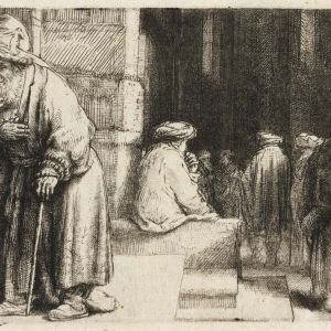 Jews in the synagogue, by Rembrandt