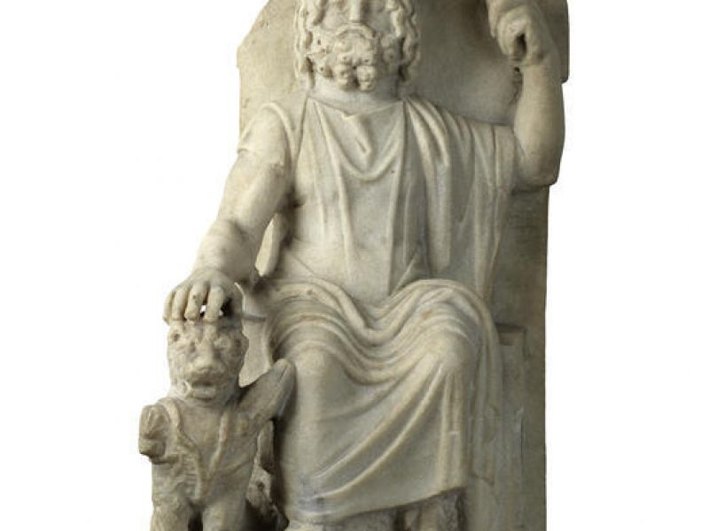 A statue of Serapis with Cerberus (Loan Ant.103.93)