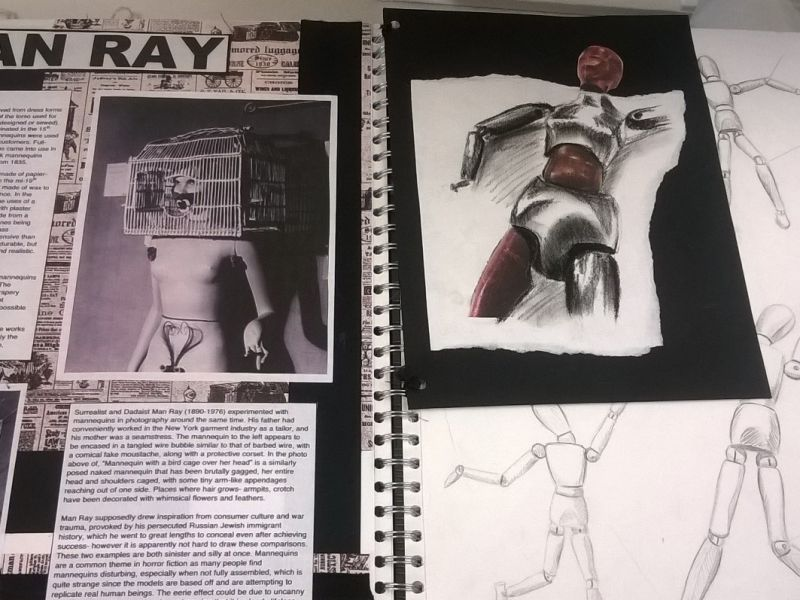 A collage of artistic work made in response to our displays of mannequins