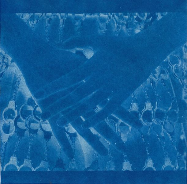 Cyanotype of Figure with bound hands_ cyanotype of image from La Esposa Esposada ('The Handcuffed Wife') project_ cyanotype of image from La Novia Puesta en Abismo ('The Bride mise en abyme') © Carmen Mariscal