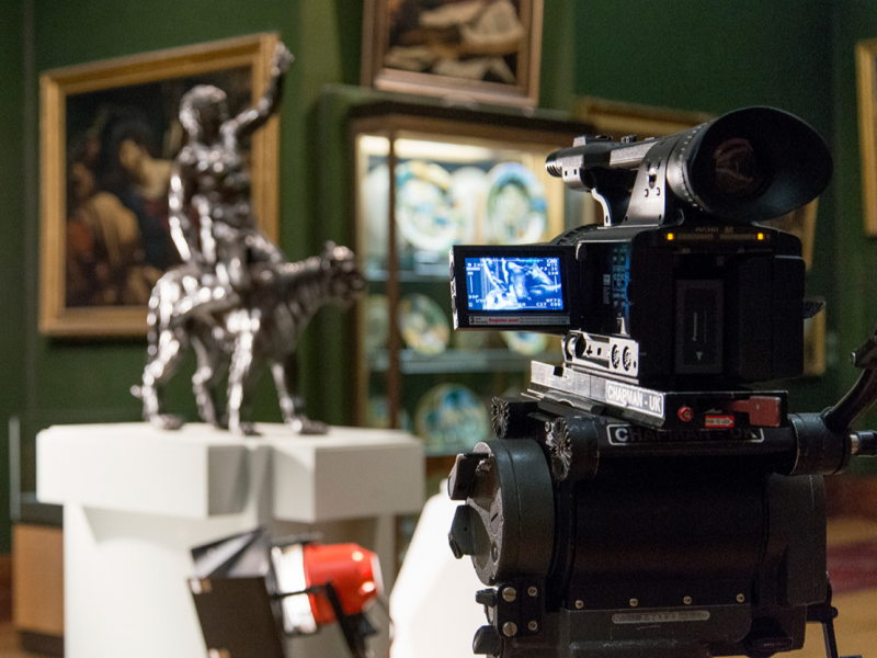 Filming in action for a piece on Michelangelo