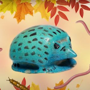 A fictional hedgehog inspired by an ancient Egyptian hedgehog in faience stone