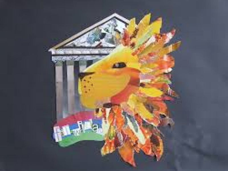 Collage art - lion and colonnade