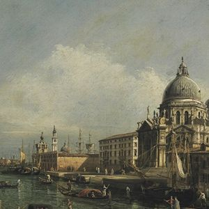 A view at the entrance to the Grand Canal in Venice